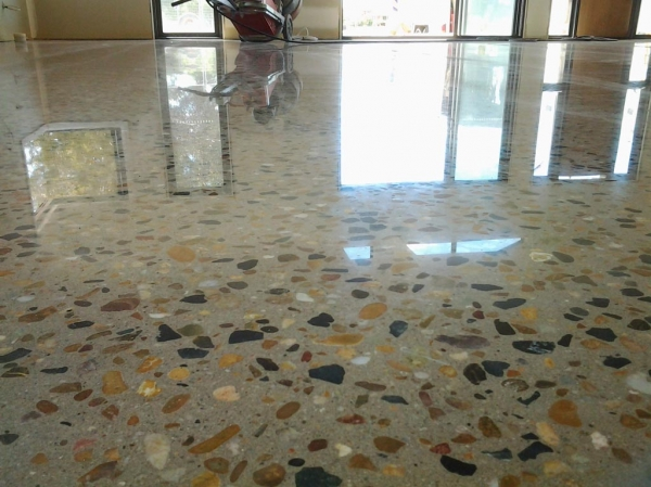 Polished concrete floor concrete feature wall from our for What can i do to my concrete floor